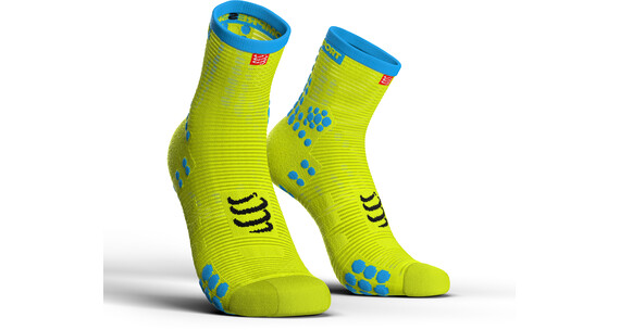 """Compressport Pro Racing V3.0 Run High Socks Fluo Yellow"""